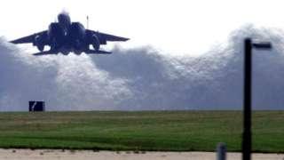 USAF F-15 fighter jet at RAF Lakenheath