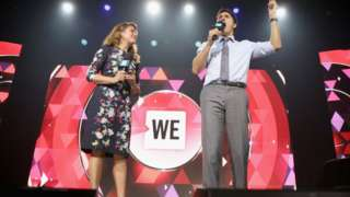 Sophie Gregoire Trudeau and Prime Minister Justin Trudeau appear at a WE Day UN event in New York in 2017