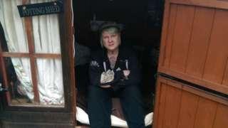 April Fillingham in wendy house