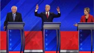 Democratic presidential hopefuls Bernie Sanders (right), Former US Vice President Joe Biden (centre) and Elizabeth Warren
