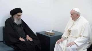 پوپ فرانسس آیت اللہ ال سستانی کے ہمراہ