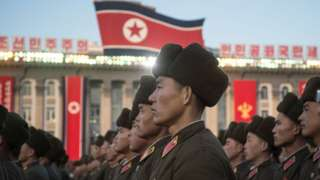 North Korean soldiers attend a mass rally to celebrate the North's declaration on November 29 it had achieved full nuclear statehood, in Pyongyang on December 1, 2017