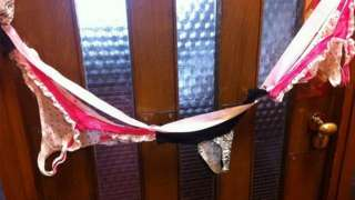 Image of lingerie on Sir Christopher Chope's office door - supplied to PA by fellow MP Caroline Lucas