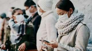 Woman using app