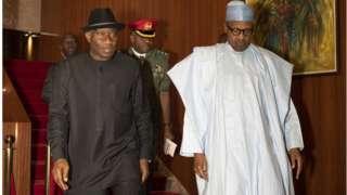 President Muhammadu Buhari dey hold closed door meeting wit former President Goodluck Jonathan dis afternoon for Aso Rock. - 30/01/20