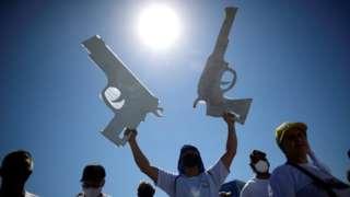 Protesto em favor da posse de armas em Brasília em 9 de julho