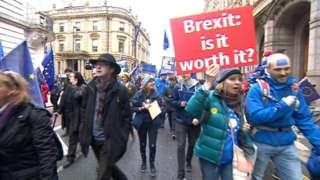 People marching through Leeds with anit-Brexit placards