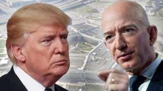 Montagem mostra Trump e Bezos, com imagem do Pentágono ao fundo