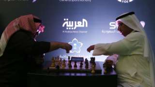 Attendees play chess for fun as they attend at the King Salman Rapid Blitz Chess Championships opening in Riyadh, Saudi Arabia, December 25