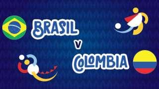 Brazil v Colombia badge graphic