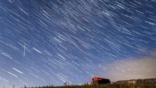 A digital composite of 30 photographs of the meteor shower taken over a period of 15 minutes in the Yorkshire Dales National Park in 2017
