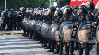 Police outside the River Plate stadium