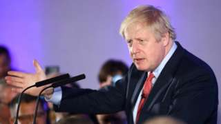 Boris Johnson speaking at Conservative Party event following election results