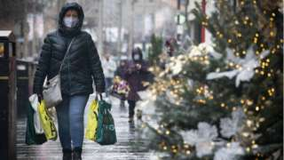 Shopper in Glasgow at Christmas