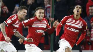 Djed Spence celebrates scoring for Middlesbrough against Huddersfield