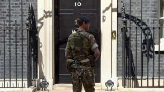 Soldier outside Downing Street