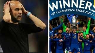 Pep Guardiola atawọn agbabọọlu Chelsea