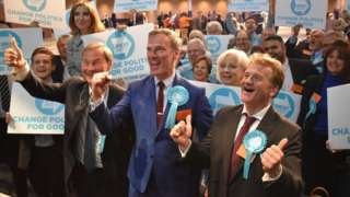 Newly-elected Brexit Party MEPs Rupert Lowe, Martin Daubney and Andrew Kerr