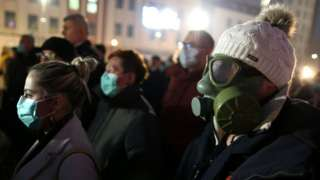 A demonstrator wears a gas mask during a protest over a lack of government action to tackle heavy air pollution in Tuzla, Bosnia and Herzegovina, 15 January 2020