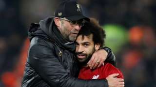 Mo Salah and Jurgen Klopp celebrate