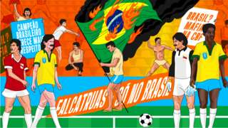 An illustration depicting the dramatic scenes in Salvador as Brazil fans burned the national flag at the 1989 Copa America's opening match at home to Venezuela