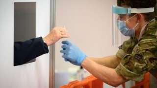 Swab testing for coronavirus in Merthyr Tydfil in November 2020