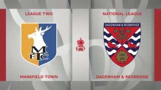 Mansfield Town v Dagenham & Redbridge badge graphic