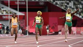 Ivory Coast's Marie-Josee Ta Lou (left) in the final of the women's 100m at the Tokyo Olympics