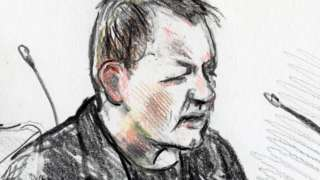 A court drawing of Peter Madsen during his trial in Copenhagen, 25 April 2018