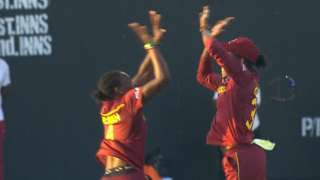 West Indies celebrate the wicket of Elyse Villani