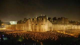 Tower of London WWI Armistice Centenary Tribute called Beyond The Deepening Shadow