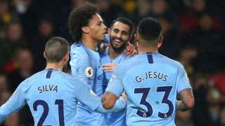 Man City celebrate Leroy Sane goal
