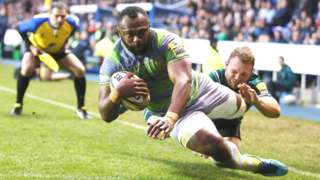 Vereniki Goneva scores Newcastle's third try against London Irish