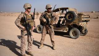 US Marines at the Shorab Military Camp in the Afghan province of Helmand in 2017