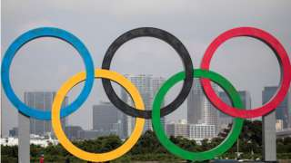 Olympic rings in front of the Tokyo skyline