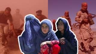 Montagem de três imagens em primeiro plano, fotos de militares estrangeiros carregando um corpo na extrema e de combatentes talibãs marchando na província de Laghman à direita
