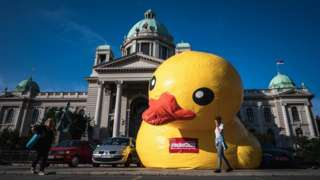 Protest group Don't Let Belgrade Drown placed a giant inflatable duck outside parliament, 18 Jun 20