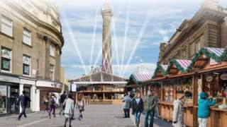 Artist's impression of a two-storey bar at Monument which had been planned for the 2020 market