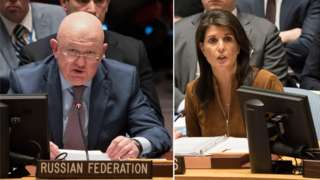 Russian and US envoys at the UNSC