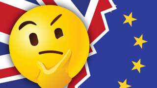Thinking emoji with UK and EUY flags