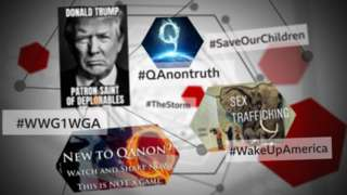 QAnon-related memes and hashtags