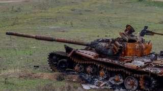 Сгоревший танк