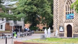 Forensic investigators outside Reading Minster