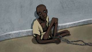 Illustration of man chained up
