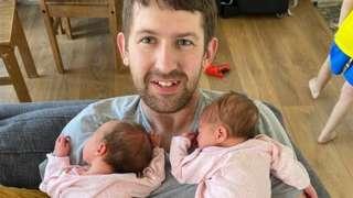 Alex Wright with newborn twins Eden and Indie.