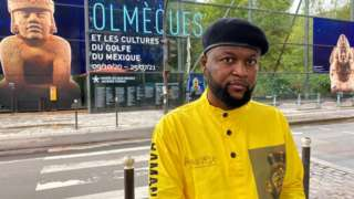 Emery Mwazulu Diyabanza in front of the Quai Branly museum in Paris on 2 October 2020