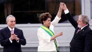 Temer, Dilma e Lula durante posse de Dilma registrada no documentário 'Democracia em Vertigem', da brasileira Petra Costa