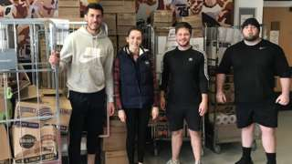 Stoke defender Danny Batth delivers food packages to Russells Hall Hospital, Dudley