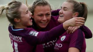 Man City women celebrate beating Birmingham City in the Women's FA Cup