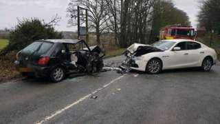 Crash on Main Road in Morley, Derbyshire